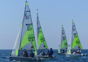 Vier Boote des Team Deutschland bei der WM in Italien, 7134 und 5907 mit SVGS-Beteiligung, 7310 mit reiner SVGS-Crew